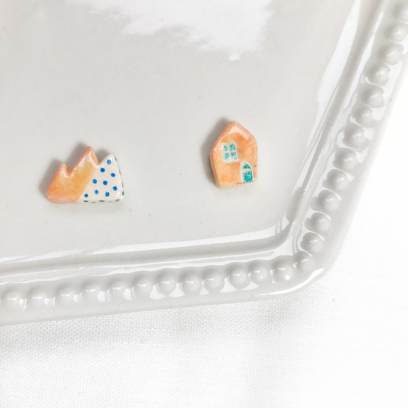 Pink Snow House - Handmade / Hand Drawn Earrings