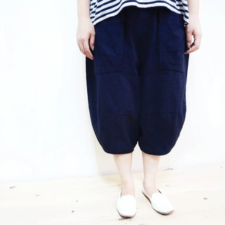 [MIT] Qi Wu eight 〇x cotton seven pants (dark blue)