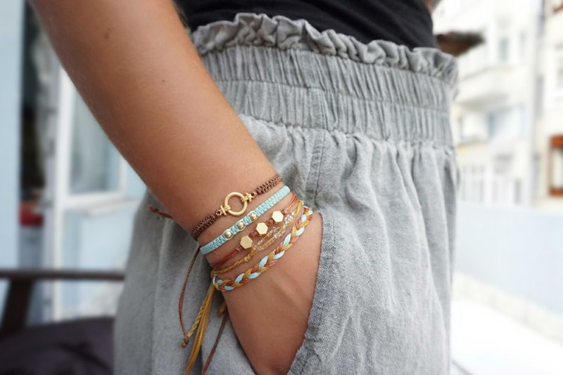 Boho Bracelet Set with Macrame Cotton Cords and Gold Plated Charm Summer Gift