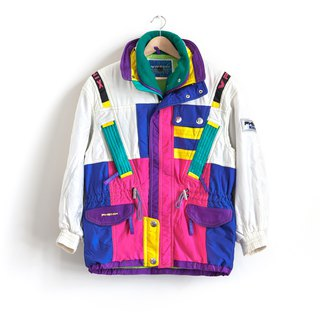 Vintage colorful blocks double ski coat vintage jacket