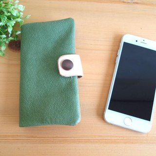 [Custom-made classic green] pig leather soft Sumahokesu [various models] leather cover [iphone6, xperia, galaxy] green