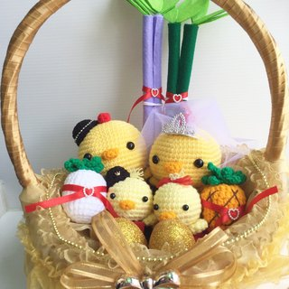 Chuchu hand made cute Q version lead chicken white yarn crown (golden basket)