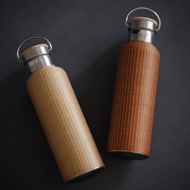 Speaking|Bamboo silk buckle porcelain retro thermos hand-crafted bamboo hot water bottle retro tea ceremony insulation pot
