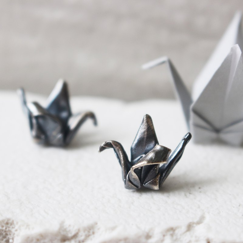 Origami Crane Earrings in Oxidized Silver / Black Silver Origami Crane Stud
