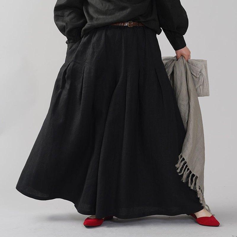wafu-略薄的亞麻褲裙褲寬褲子長崇拜褶皺日本禪腰皮革皮帶環口袋最大長度/ b002k-bck1