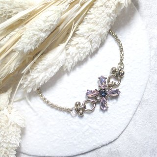 ♦ ViiArt ♦ Four Leaf - purple ♦ Vintage Retro gold vintage brass bracelet customized gift Lucky Clover