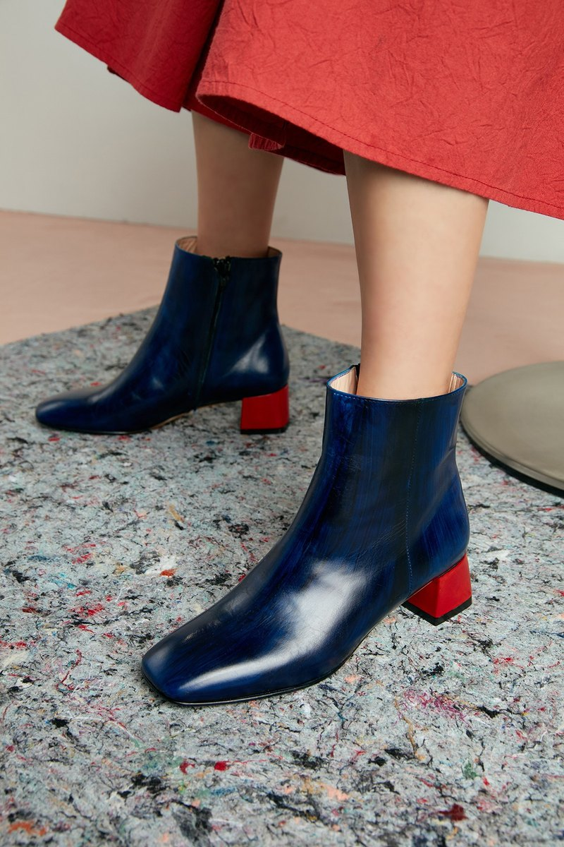 H THREE classic square ankle boots / Prussian blue / retro / rough with