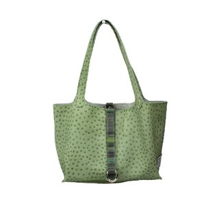 AMINAH - Green Ostrich Embossed Leather Tote [Art.202]