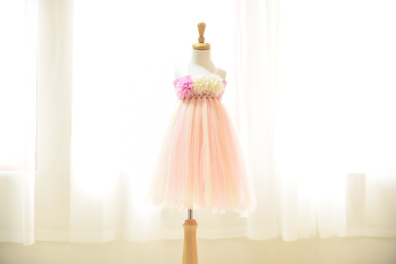 Princess Peng Peng skirt dress DIY material bag birthday catch week saliva party flower girl 0-7Y pink
