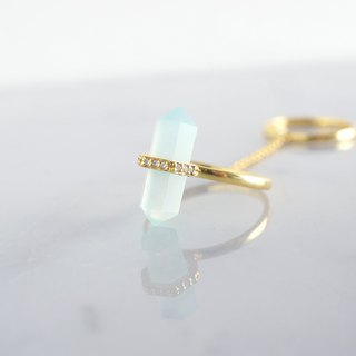 【Gold Vermeil/Gemstone】Chain Linked Double Ring-Aqua Chalcedony/White Zircon-