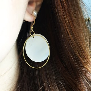 Can be changed clip - brass ring roll geometric big earrings - a single branch