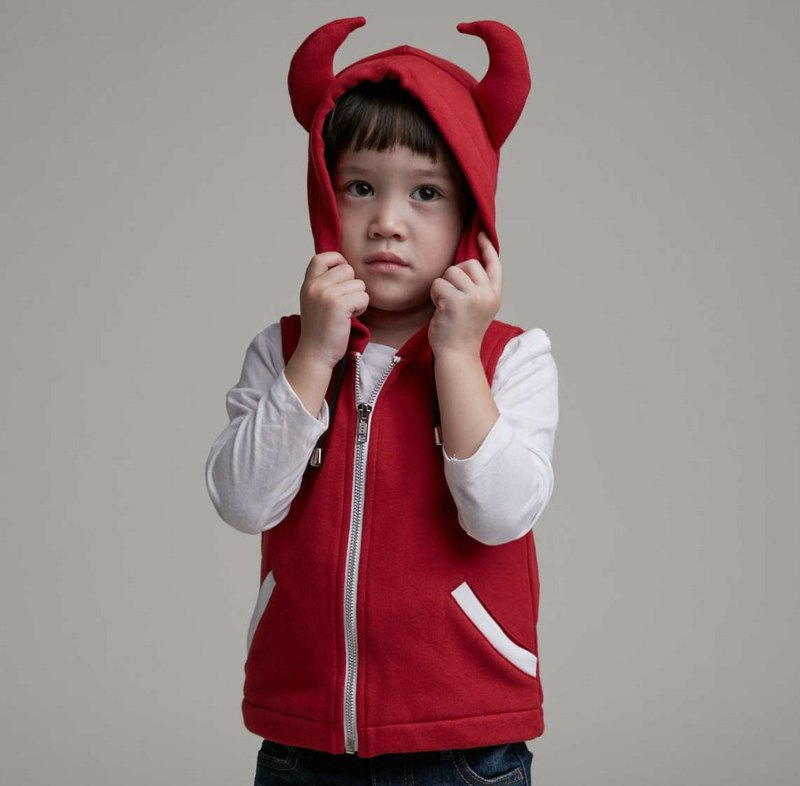 Little devil hooded vest (red)