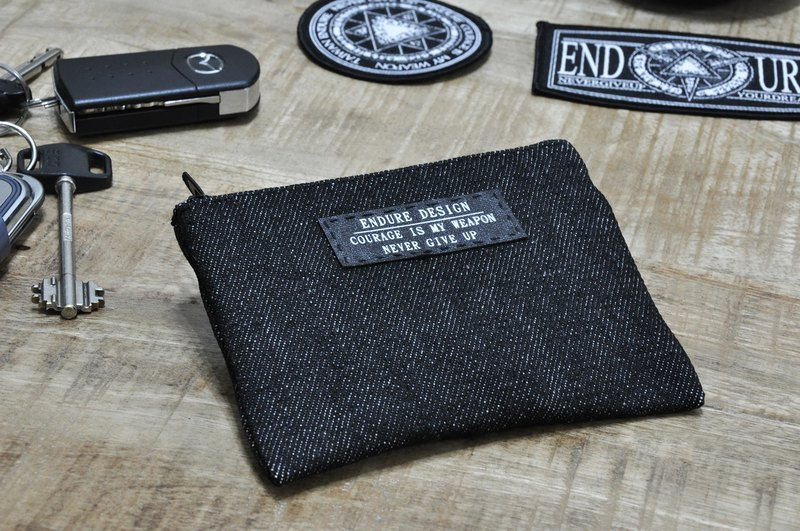 ENDURE/ denim black coin purse