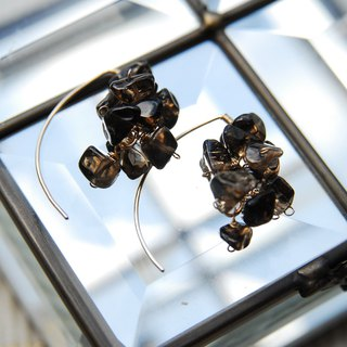 Dark colored smoky quartz marquis hook earrings 14 kgf