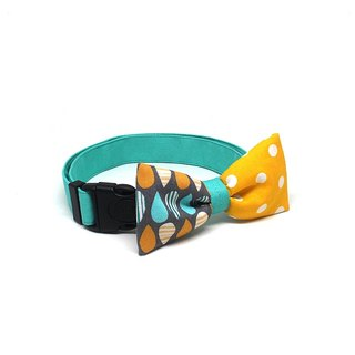 GOOOD Dog Collar (Medium Sz) | Smarty - DripDrop | 100% Raindrops & Yellow Dots Cotton Fabric