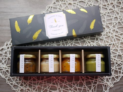 La Santé French Handmade Jam - 抺 Tea Edition Small Jam Gift Box 4 Canned Black Gold Feather Special Edition