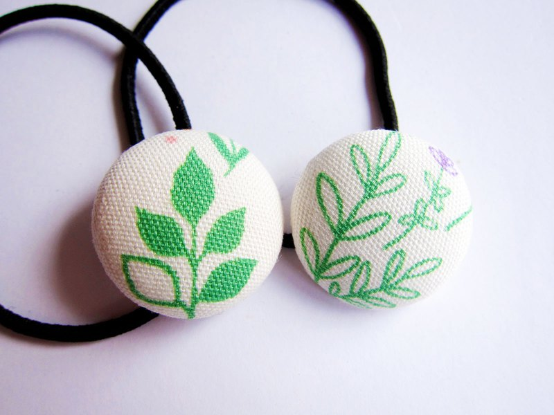 Hand made cloth bag button hair band hair ring green leaf