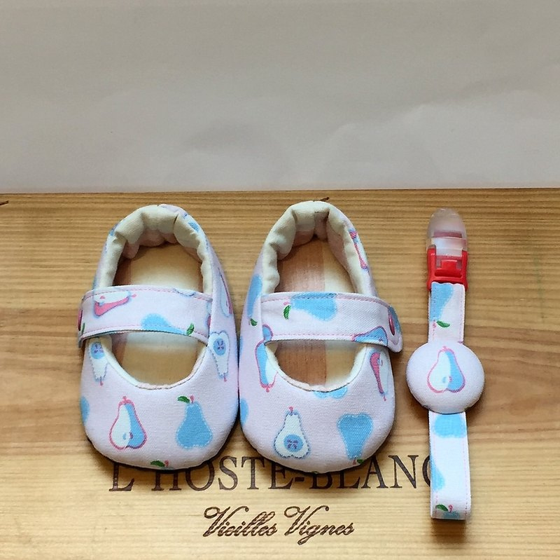 Pear Party - pink baby toddler shoes + pacifier clip births gift - a fairy tale cloth house