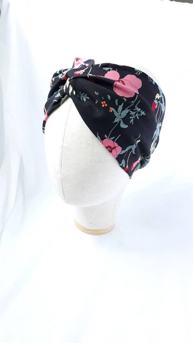 Black bottom poppy headband scarf wide hair band