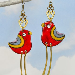 Enamel Earrings, Enamel Jewelry, Red Bird Earrings, Robin, Bird Earrings,
