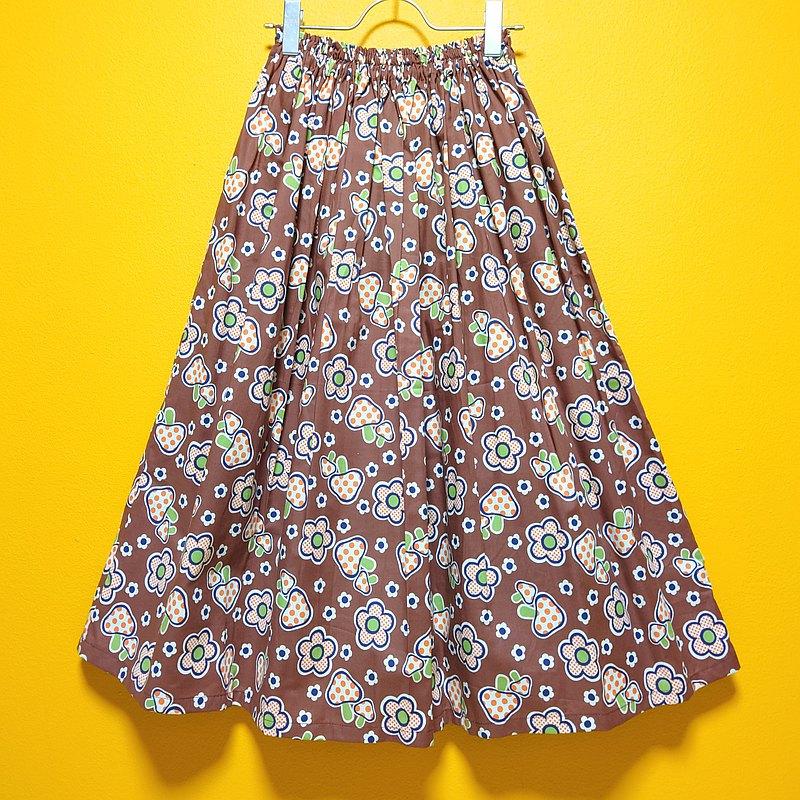蘑菇花裙子棕色 / 均碼 / 日本紡織 / 日本製造