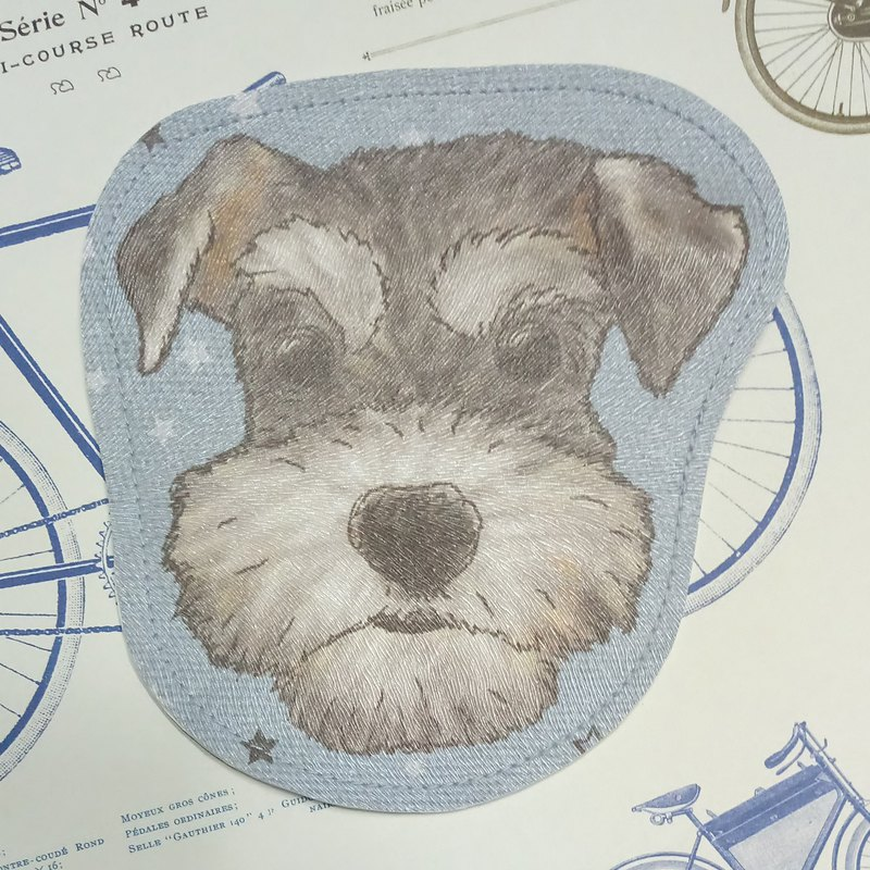 Schnauzer - imitation leather coin purse (can be used as a MRT card) - dog sketch series ~ dog head shape