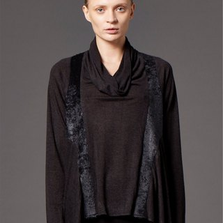 Draped material stitching top