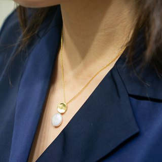 Edith & Jaz • Moon Disc Freshwater Coin Pearl Necklace
