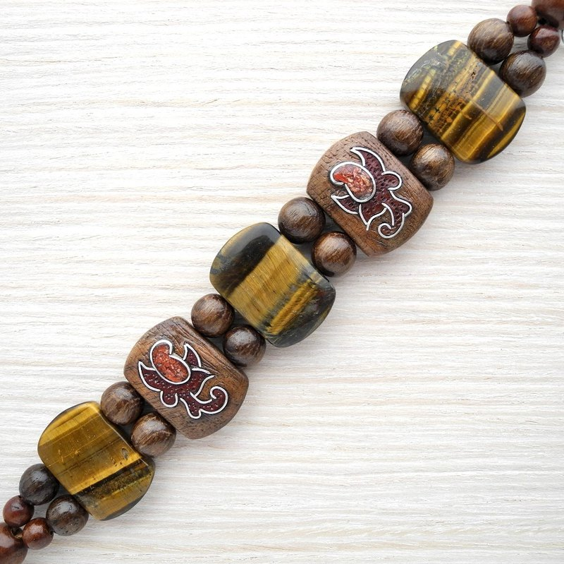 Wooden bracelet with tiger-eye and coral