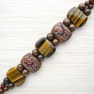 Wooden inlaid bracelet with tiger-eye