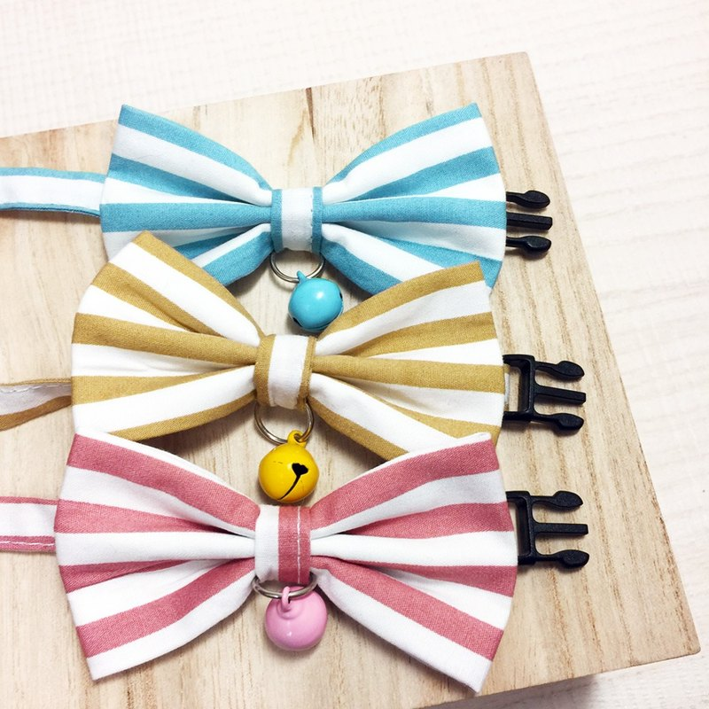 Wide stripe bow pet decorative collar cat small dog mini dog