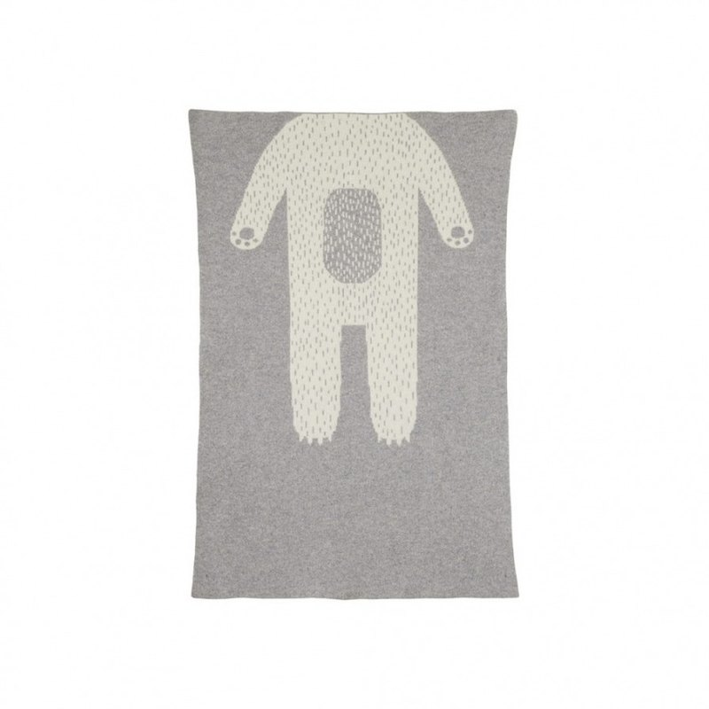 Bear Pure Wool Blanket - Grey | Donna Wilson