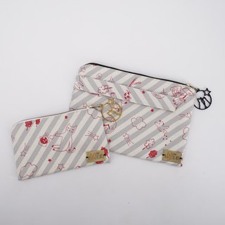Christmas Gift Set: Pouch & Wristlet in Cats on Gray Stripes