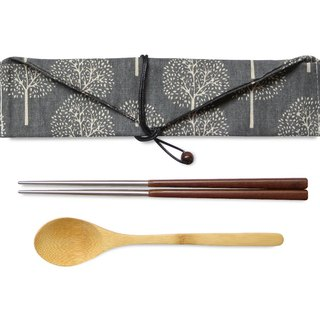 La boos stainless steel accompanying cutlery set stainless steel black wood chopsticks dark thick cotton linen set bamboo spoon