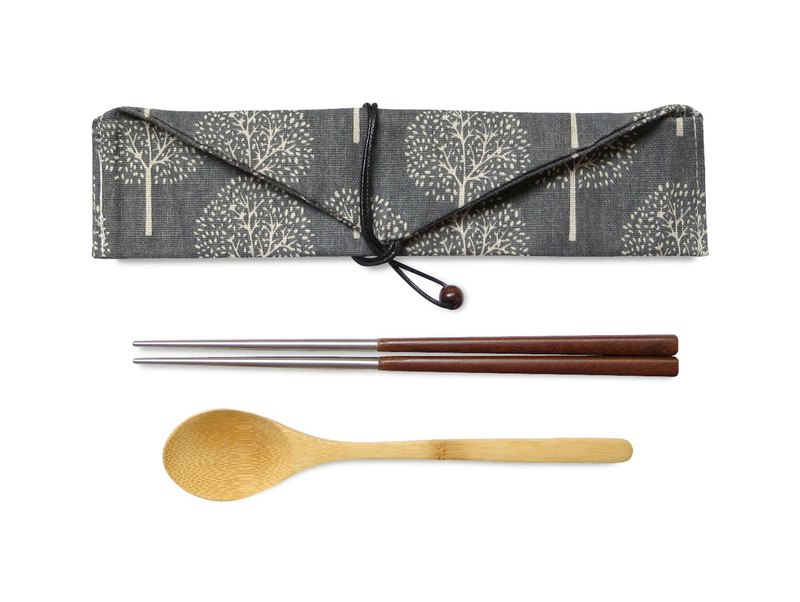 Laboos stainless steel accompanying cutlery set black wood chopsticks