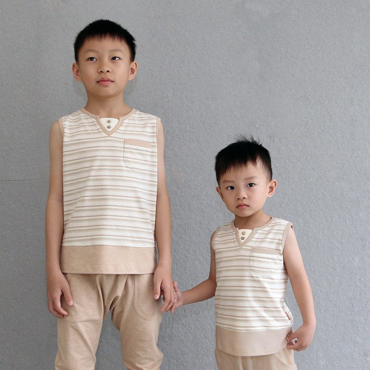 [] Ecoolla organic cotton V-neck striped cotton sleeveless shirt _ Brown | in Taiwan |
