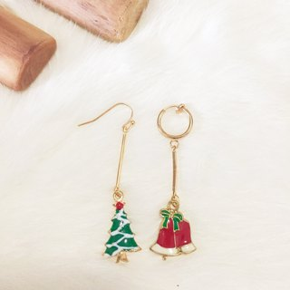 Red Christmas tree bells long earrings circle ear clip painless earrings handmade