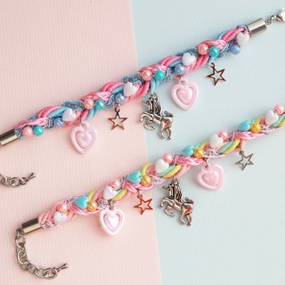 Unicorn braided bracelet in cotton-candy color