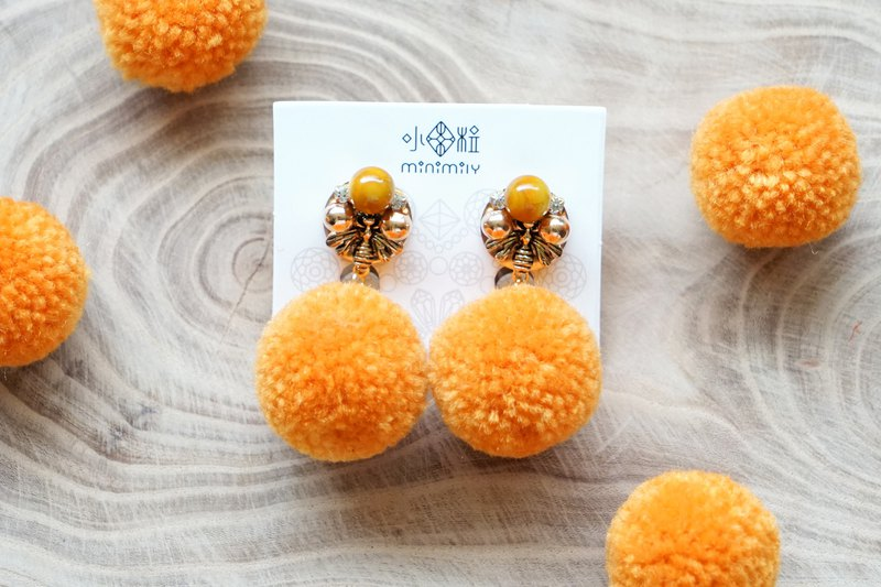 Honey Bee - Yellow Agate Gemstone Earrings