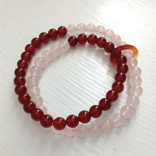 BR0275 - Natural Gem Double Bracelet / Bracelet - Design and Production - Natural Red Agate and Pink Crystal