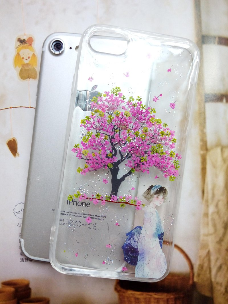 Pressed flower phone case, Handmade phone case, Cherry tree, iPhone 7,iPhone 8