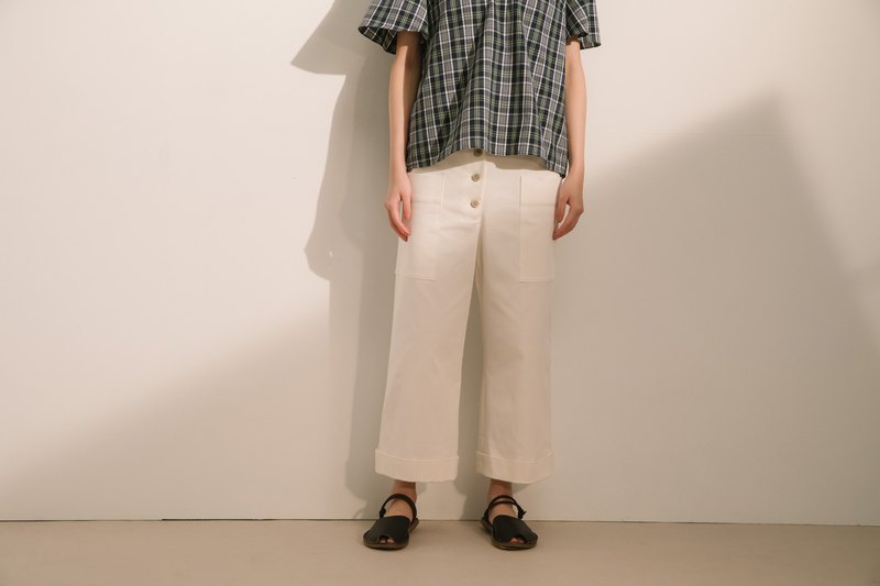 Gentle Time Breasted Pants - Micro White City