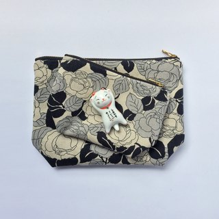 Set of Two Travel Pouch, Monochrome Rose, Coin Purse, Cosmetic Bag,