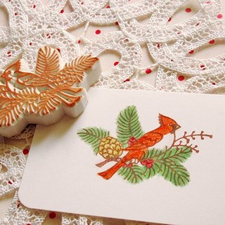 Apu handmade rubber stamp Christmas red tits seal