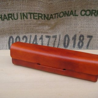ISSIS - High-quality hand-made minimalist vegetable tanned leather stereo pencil case / pencil case