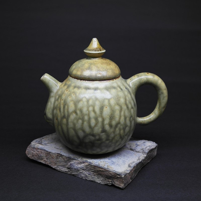 Gray glaze pear shape is making teapot hand made pottery tea props