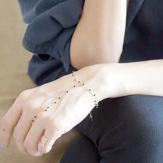 【Monica】 14KGF Ring Bracelet, Tiny Swarovski