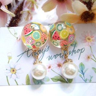 Handmade jewelry, resin earrings, Fruits  earrings
