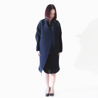 Goody Bag - Deep Blue V neck thin pleated coat & bodycon dress