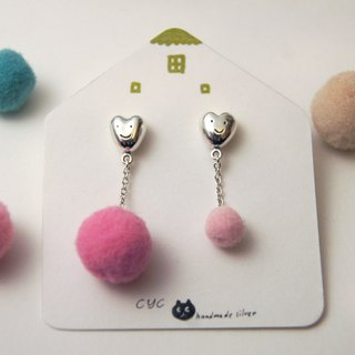 Cute Fluffy Heart Earring -Polished Surface